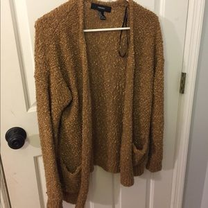 Gold forever 21 fuzzy cardigan